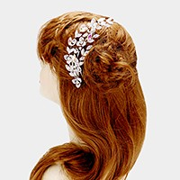 Glass crystal rhinestone leaf vine hair comb