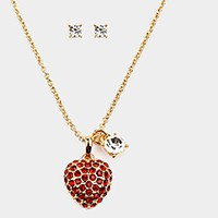 Pave heart pendant & crystal charm necklace