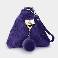 Furry triangle wrist clutch bag with detachable pom pom charm