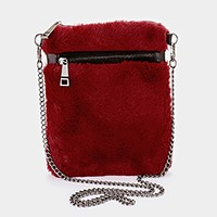 Furry zip smart crossbody bag