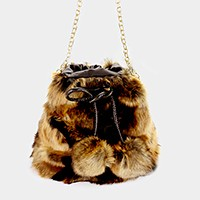 Ombre double furry pom pom crossbody bag