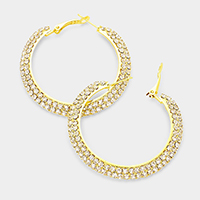 2-Row rhinestone hoop earrings