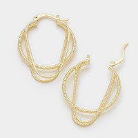 14 KT gold plated brass genuine multi-hoop pin catch earrings