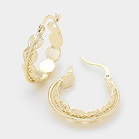14 KT gold plated brass genuine hoop pin catch earrings