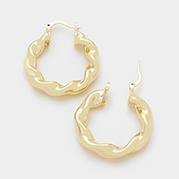 14 KT gold plated twisted brass genuine hoop pin catch earrings