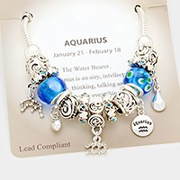 Aquarius _ Multi-bead zodiac sign charm bracelet
