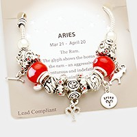 Aries _ Multi-bead zodiac sign charm bracelet