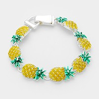 Lacquered metal pineapple link magnetic bracelet