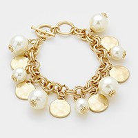 Hammered metal disc & pearl charm station toggle bracelet