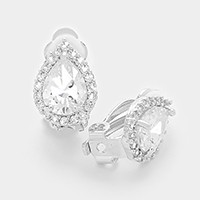 White gold plating crystal CZ clip on earrings