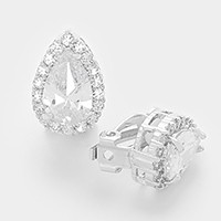 White gold plating crystal CZ teardrop clip on earrings