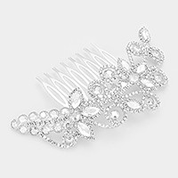 Glass crystal & rhinestone vine hair comb