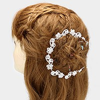 Glass crystal rhinestone flower vine bun wrap headpiece