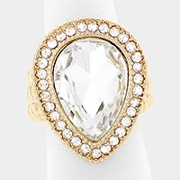 Glass crystal teardrop stretch cocktail ring