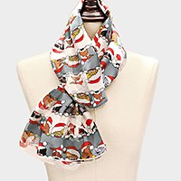 Silk feel christmas animal with santa claus hat print scarf