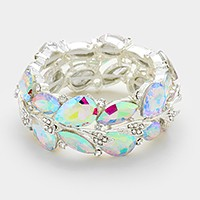 Glass crystal teardrop vine stretch bracelet