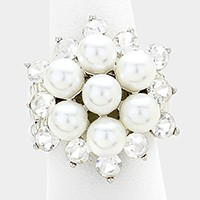 Crystal & pearl bloom stretch ring