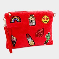 Furry sequin emoji & lipstick patch clutch bag with straps