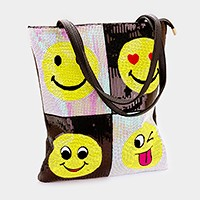 Sequin smiley face emoji patchwork shopper bag