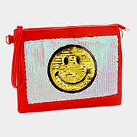 Sequin smiley face emoji clutch pouch bag with strap