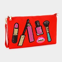 Sequin lipstick & makeup tool clutch pouch bag with straps