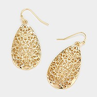 Metal filigree teardrop earrings