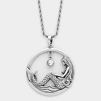 Metal cut out mermaid hoop pendant necklace