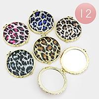 12 PCS - Leopard pattern compact mirrors