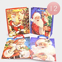 12 PCS - Christmas Holiday Santa Claus gift bags