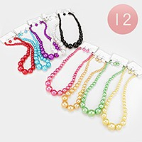 12 PCS - Pearl strand necklaces