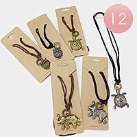 12 PCS - Elephant turtle owl pendant necklaces