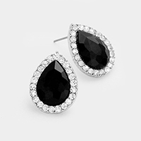 Pave trim glass crystal teardrop stud earrings
