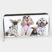Dogs print zip around wallet