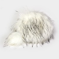 Rounded  faux fur zip crossbody bag with detachable pom pom charm