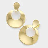Curved brushed metal hoop clip on earrings