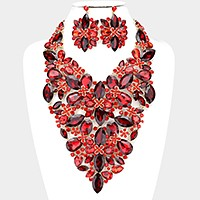 Glass crystal flower vine bib evening necklace