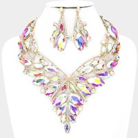 Glass crystal marquise petal evening necklace