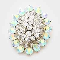 Glass crystal cluster oval brooch