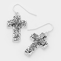 Embossed metal filigree cross earrings