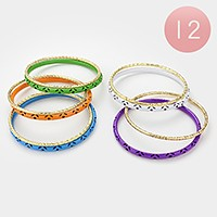 12 Sets - Textured metal & lacquered bangle bracelets