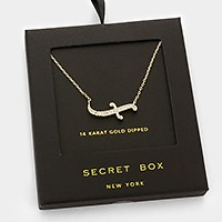 14 K gold dipped crystal pendant necklace with secret box