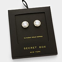14K gold dipped crystal CZ halo stud earrings with secret box