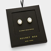 14 K gold dipped oval crystal CZ stud earrings with secret box