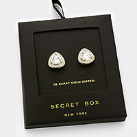 14 K gold dipped crystal CZ stud earrings with secret box