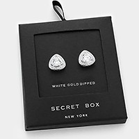 White gold dipped crystal CZ stud earrings with secret box