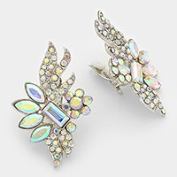 Glass crystal rosette statement clip on earrings