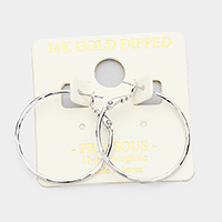 14K Gold Filled Faceted Hypoallergenic Metal Hoop Earrings