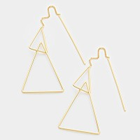14K gold filled geometric metal hoop pull through earrings