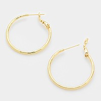 14K gold filled faceted metal hoop earrings