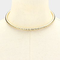 Faceted metal choker necklace